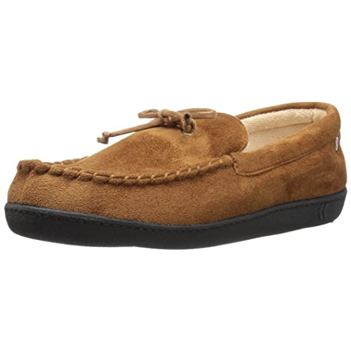ISOTONER Mens Microsuede Moccasin Slipper with Cooling Memory Foam for Indoor/Outdoor Comfort
