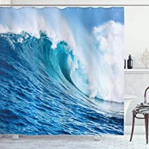 Ambesonne Ocean Decor Collection, Large Powerful Pacific Surf Sea Wave Crashes Hard Picture Print, Polyester Fabric Bathroom Shower Curtain Set with Hooks, 84 Inches Extra Long, Blue Aqua White