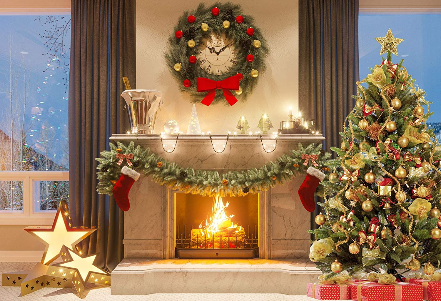 10x6.5 ft Christmas Backdrop Photography Glod No Wrinkle Seamless Photo Booth Props Backdrop for Photoshoot