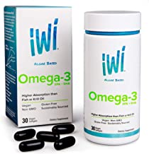 IWI Omega-3 Oil EPA + DHA - Doctor Recommended Algae Oil 850 Mg Soft Gel Capsules - 30 Day Supply - Better Absorption, 100% Vegan, Non GMO - Healthier Than Fish Oil - Supports Brain And Heart Function