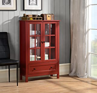 Homestar with 2-Door/ 1-Drawer Glass Cabinet, 47.24 x 31.50 x 11.77-Inch, Red
