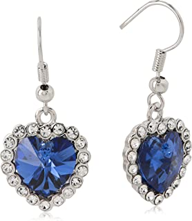 Swarovski Elements 18K White Gold Plated Earrings encrusted with Navy Blue Swarovski Crystals, SWR-757