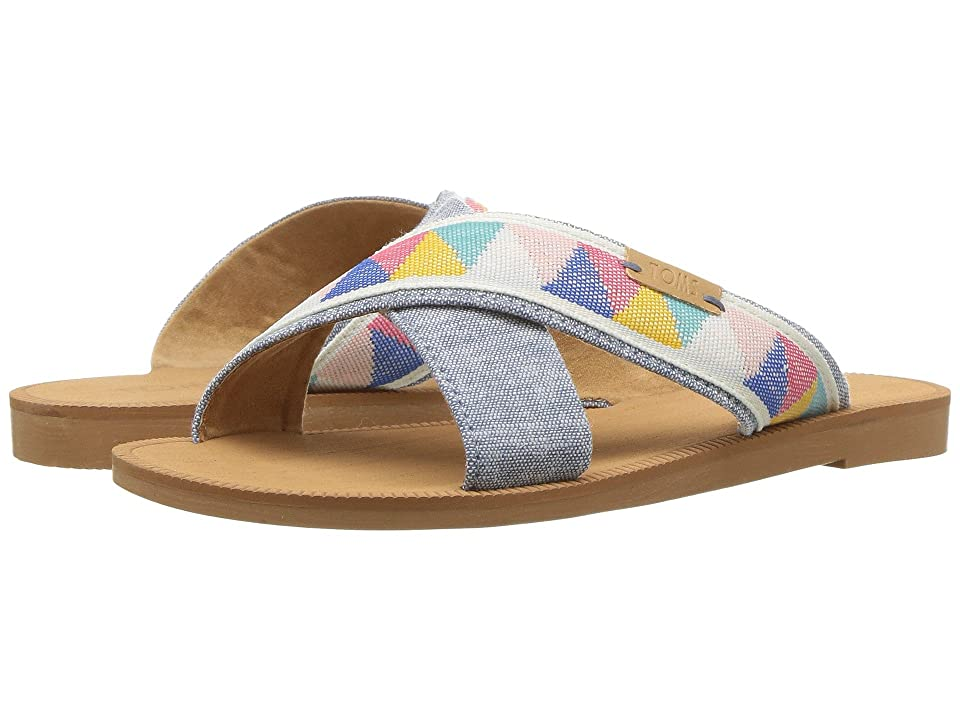 TOMS Kids Viv (Little Kid/Big Kid) (Blue Slub Chambray/Tribal) Girl