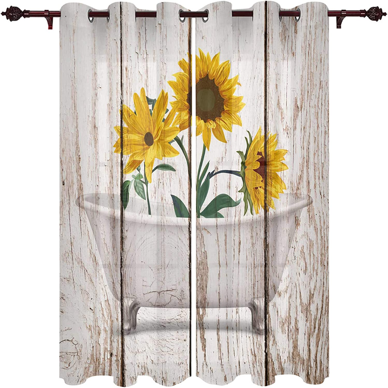 Window Curtains for Living Sale special price Sunflower Bedroom Room Direct stock discount Bathtub