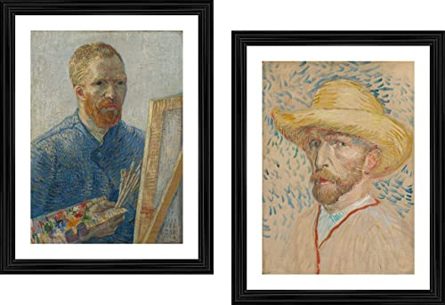 Self Portraits of Van Gogh Two Paintings by Vincent Van Gogh Set of 2 Wall D cor Frames Acrylic Coated Satin Print with Black Frame Size 14 x18 Each 11 Options