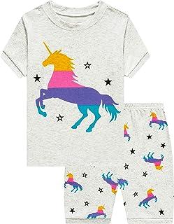 Pajamas Set for Girls Short Sleeve Sleepwears Kids Short...