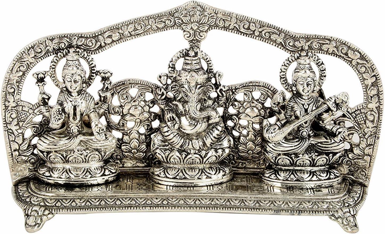 Silver Plated Laxmi Ganesh Super popular Free Shipping New specialty store Saraswati Statue- Carving Fine Idol