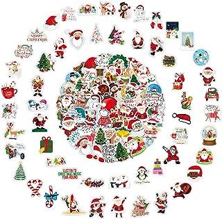 Enibon 100 Pièces Autocollants Noël Statique Amovibles,Stickers De Noël en PVC Réutilisable,Autocollants Père Noël Bonhomm...