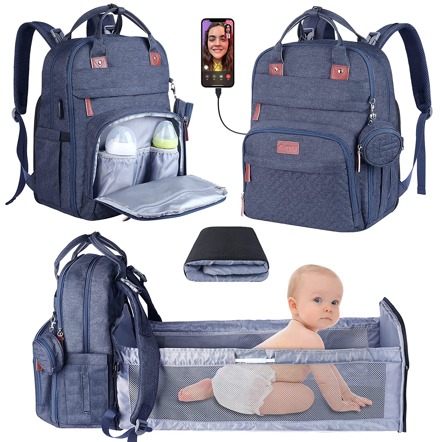Diaper Bag Backpack,3 in 1 Baby Diaper Bag with Changing Station,Travel Foldable Baby Bag,Multi-Function Large-Capacity Baby Bags for Girls Boys Blue
