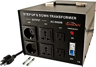 Simran AC-5000 Power Converter Voltage Transformer 110V to 220/240 Volt, 5000 Watt, Black