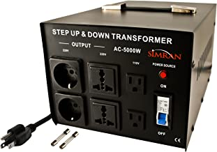 Simran AC-5000 Power Converter Voltage Transformer 110V to 220/240 Volt, 5000 Watt, Black