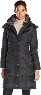 London Fog Women's Chevron Coat with Faux-Fur Trim