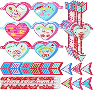 140 Pieces Valentine's Day Scratch and Sniff Pencil Toppers Cards Set for Kids 35 Valentines Cupid's Arrow Scratch and Sni...