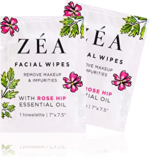 ZEA Makeup Remover Wipes | Infused with Rose Hip Essential Oil | Alcohol-Free & Paraben-Free | New & Improved | 100 Individually Wrapped Wipes