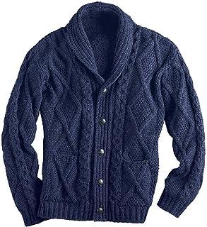 HEFASDM Men Solid Colored Knitwear Turn Down Collar Cardigan Outwear Coat
