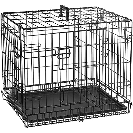 Double Door Folding Metal cage with Removable Tray and paw Protector for Dogs,Cats and Rabbits 30 inch - Central Fish Aquarium (Black)