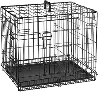 Double Door Folding Metal cage with Removable Tray and paw Protector for Dogs,Cats and Rabbits 30 inch - Central Fish Aqua...