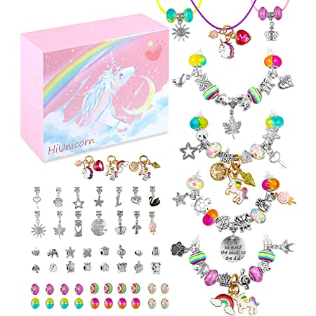 HiUnicorn Christmas Unicorn Gift Jewelry Making Kit for Teen Girls DIY Pendant Charms for Bracelets Necklaces Set with Xmas Rainbow Crystal Beads Handmade Craft Supplies with Pink Gift Box