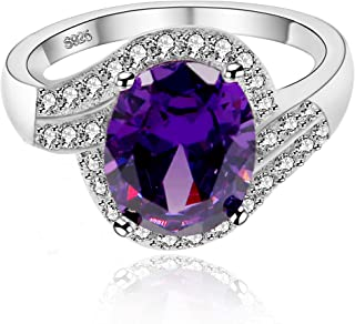 Uloveido Women's Created Amethyst Solitaire Rings Engagement Wedding Oval Cut Purple CZ Crystal Promise Rings Size 6 7 8 9 (Gift Box) J334