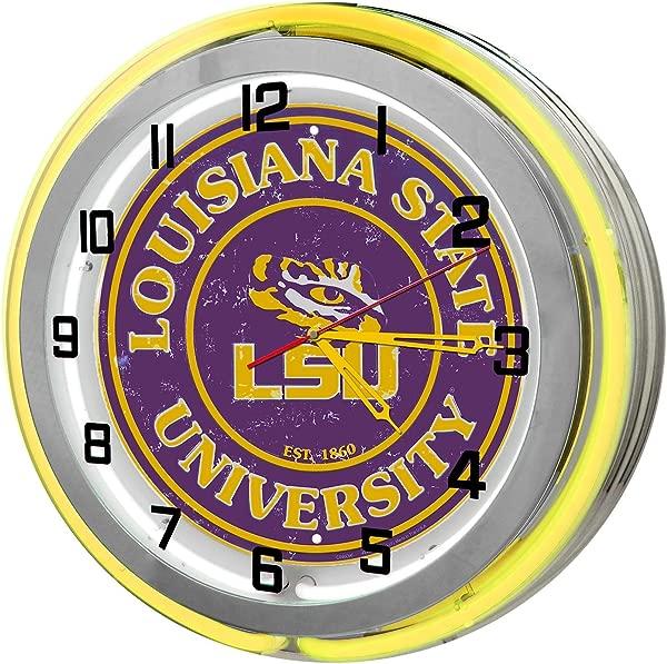 Louisiana State University Yellow 18 Double Neon Garage Clock From Redeye La