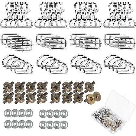 ZERHOK 64Pcs Sets Fermoir Magnétique Rivet Bouton Fermoir Bouton Magnetique Circulaire, Et Mousqueton Porte Clé Pivotants En Acier Pour Sac À Main Bricolage Aimants Porte-Clés (Bronze)