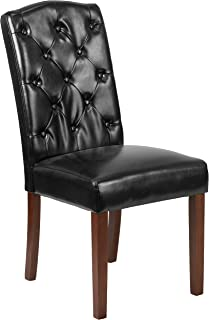 MFO Oxford Collection Black Leather Tufted Parsons Chair