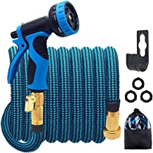 HULOSAN Expandable Garden Hose with 9 Function Nozzle, Leakproof Lightweight Expanding Garden Water Hose with Solid Brass ...