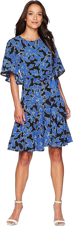 Flutter Sleeve Printed Dress
