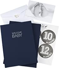 Navy Blue Linen Wrapped Baby Memory Book Journal with Monthly Stickers & Card – Baby Shower Gift or Scrapbook Keepsake