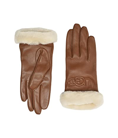 UGG Classic Leather Logo Tech Gloves (Chestnut) Extreme Cold Weather Gloves