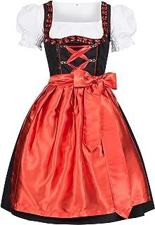 Gaudi-Leathers Dirndl Set 3 TLG. Iwona schwarz mit Schürze Leuchtend rot