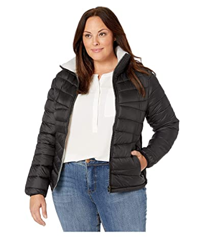 YMI Snobbish Plus Size Reversible Puffer Jacket (Black/Silver) Women