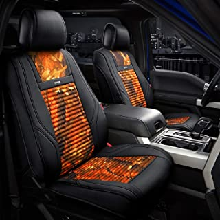 Front Seat Covers Camo Series - 1st Row Bucket Seat Cover Fit To Most Car Truck SUV, Orange with Black Sides