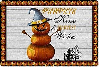 Meet 1998 Leather Doormat Halloween Pumpkin Castle Witch Scarecrow Non-Slip Rubber Floor Mats Wood Plank Durable Outdoor E...