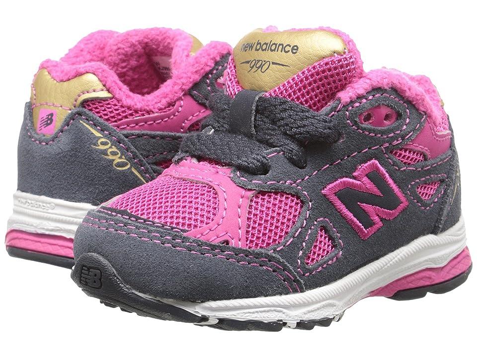 New Balance Kids 990v3 (Infant/Toddler) (Pink/Grey) Girls Shoes