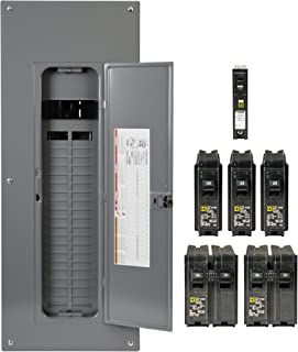 Square D by Schneider Electric HOM4080M200PC1AVP Homeline 200-Amp 40-Space 80-Circuit Indoor Main Plug-On Neutral Breaker Load Center- Value Pack With Cafi Breakers
