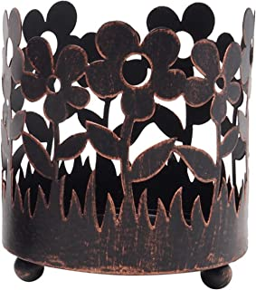 Hosley 4.5 Inch High Bronze Jar Holder Candle Sleeve LED Lantern Votive Tealight Holder Ideal Gift for Wedding Spa Aromatherapy Parties O9
