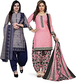 Rajnandini Women's Grey And Light Pink Cotton Printed Unstitched Salwar Suit Material (Combo Of 2) (Free Size)
