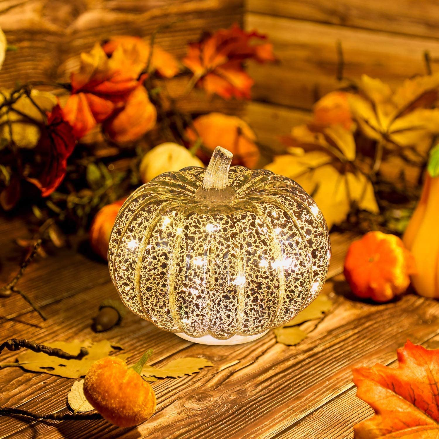5.5 Puzzlos Mercury Glass Pumpkin Light with Timer for Halloween and Home Decor Battery Operated