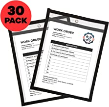 Job Ticket Holders 9 x 12 Clear (30 Pack) - Dry Erase Pockets Black - Reusable Sleeves - Dry Erase Sheets - Write and Wipe Pockets // Bluestone Brands //