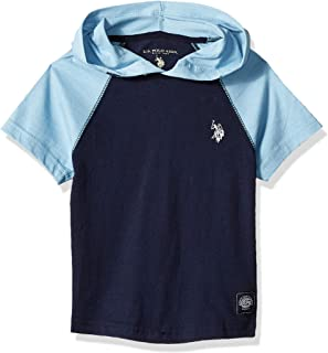 U.S. Polo Assn. Boys Short Sleeve Hooded Raglan Top Short Sleeve T-Shirt - Blue
