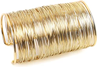 Alloy Metal Gold Thin Thread Wire Open Cuff Wide Bracelet Bangle