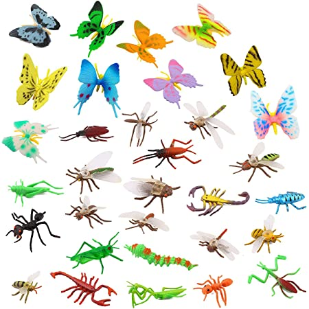 OOTSR Plastic Insects Bugs Figures[22-Pack] and Assorted Colorful Butterflies[12-Pack], 1''-4'' Simulated Insects Bugs Made of Premium PVC for Congnition Education or Themed Parties