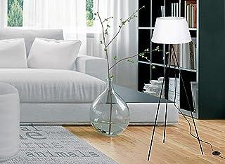 Trango Lampadaire design intemporel « White » avec abat-jour en tissu blanc I Hauteur : 1500 mm I avec douille E27 I Idéal...