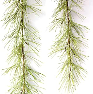 idyllic 4FT Garland with Artificial White Berries, Pine Needles Fake Hanging Vine Plant for Home Decoration
