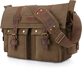 Kattee Leather Canvas Messenger Bag Fits 16 inch Laptop (Coffee)