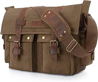 Military Messenger Bag Canvas Leather Shoulder Bag Fits 16 Inch Laptop
