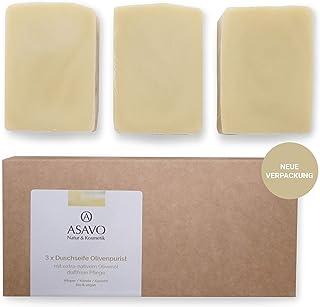 ASAVO Premium Olivenölseife, handgeschöpft mit extra-nativem Bio-Olivenöl, 100% Naturseife, Olivenseife, ohne Parfümzusatz, vegan, 3x95g