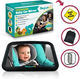 Wide Crystal-Clear View with 360-Degree Pivot Best Rear Facing Infant Car Seat Monitor for Travel Remote-Activated Night Light System KiddKare Baby Backseat Mirror Shatterproof Glass
