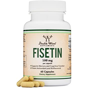 Fisetin Capsules - 100mg, 60 Count (Natural Bioflavonoid Polyphenols Supplement Similar to Apigenin, Luteolin, and Quercetin) Anti-Aging Support Senolytic by Double Wood Supplements